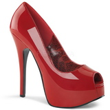 Rød Lakeret 14,5 cm Burlesque TEEZE-22 Dame Pumps Stilethæle Sko