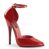 Rød Lakeret 15 cm DOMINA-402 dame pumps med lave hæl