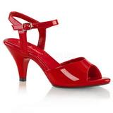 Rød Lakeret 8 cm BELLE-309 lave højhælede sko med lav hæl