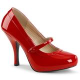 Rød Laklæder 11,5 cm PINUP-01 store størrelser pumps sko