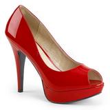 Rød Laklæder 13,5 cm CHLOE-01 store størrelser pumps sko