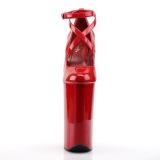 Rød Laklæder 25,5 cm BEYOND-087 ekstremt højhælede pumps - høje plateaupumps