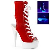 Rød Neon 15 cm DELIGHT-1016SK canvas sneakers med høje hæle