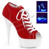 Rød Neon 15 cm DELIGHT-600SK-01 canvas sneakers med høje hæle