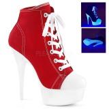 Rød Neon 15 cm DELIGHT-600SK-02 canvas sneakers med høje hæle