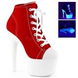 Rød Neon 18 cm ADORE-700SK-02 canvas sneakers med høje hæle