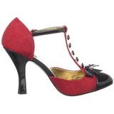 Rød Ruskind 10 cm SMITTEN-10 Rockabilly dame pumps med lave hæl