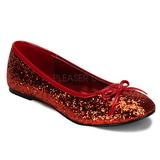 Rød STAR-16G glitter ballerina sko med flade hæle