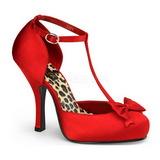 Rød Satin 12 cm retro vintage CUTIEPIE-12 dame pumps med lave hæl