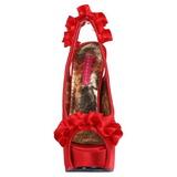 Rød Satin 14,5 cm Burlesque TEEZE-56 Plateau Højhælede Sandaler Sko