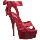 Rød Satin 15 cm DELIGHT-668 Høje Fest Sandaler med Hæl