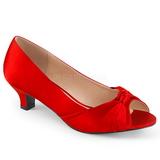 Rød Satin 5 cm FAB-422 store størrelser pumps sko