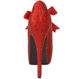 Rød Strass 14,5 cm Burlesque TEEZE-04R Høje Pumps Kvinder Plateau Hæle