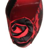 Rød blonder stof 13,5 cm BELLA-17 Høje Fest Sandaler med Hæl
