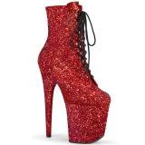 Rød glitter 20 cm FLAMINGO-1020GWR højhælede ankelstøvler - pole dance støvletter