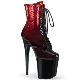 Rød glitter 20 cm FLAMINGO-1020OMB højhælede ankelstøvler - pole danseskoene