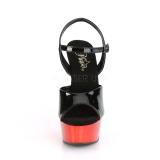 Rød krom plateau 15 cm DELIGHT-609 pleaser høje hæle