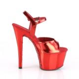 Rød krom plateau 18 cm SKY-309TTG pleaser høje hæle