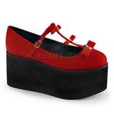 Rød lærred 8 cm CLICK-08 gothic plateausko lolita sko tykke såler