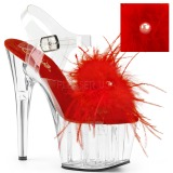 Rød marabou fjer 18 cm ADORE-708MF poledance sko