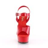 Røde høje hæle 15 cm DELIGHT-608N JELLY-LIKE stræk materiale plateau høje hæle