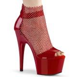 Røde høje hæle 18 cm ADORE-765RM glitter plateau høje hæle