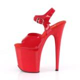 Røde høje hæle 20 cm FLAMINGO-808N JELLY-LIKE stræk materiale plateau høje hæle