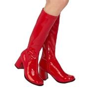 Røde laklæder støvler blokhæl 7,5 cm - 70 erne hippie disco boots knæhøje - patent læder støvler