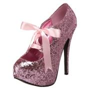 Rosa Glimmer 14,5 cm TEEZE-10G Concealed burlesque spidse pumps med stiletter hæle