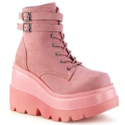 Rosa suede 11,5 cm SHAKER-52 demonia alternativ kilehæl boots plateau