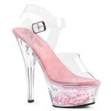 Rose 15 cm KISS-208WHG glitter platform sandals shoes