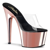 Rose 18 cm ADORE-701 Chrome Platform Mules Shoes