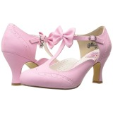 Rose 7,5 cm retro vintage FLAPPER-11 Pinup Pumps Shoes with Low Heels