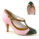 Rose 8 cm PEACH-03 Pinup Pumps Shoes with Low Heels