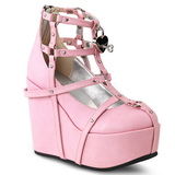 Rose Leatherette 13 cm POISON-25-2 lolita ankle boots wedge platform