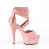 Rose Leatherette 15 cm DELIGHT-679 high heels with ankle laces