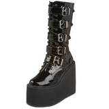 Shiny 14 cm SWING-220 womens buckle boots with platform