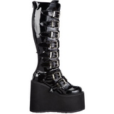 Shiny 9 cm SWING-815 womens buckle boots with platform
