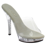 Silver 13 cm Fabulicious LIP-101LS Strass Platform High Mules
