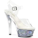 Silver 15 cm KISS-208GF glitter platform sandals shoes
