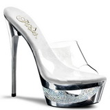 Silver 16,5 cm Pleaser ECLIPSE-601DM Strass Platform High Mules