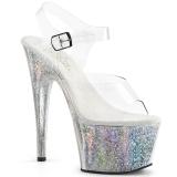 Silver 18 cm ADORE-708HB Hologram platform high heels shoes