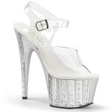 Silver 18 cm ADORE-708VLRS rhinestone platform high heels