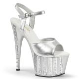Silver 18 cm ADORE-709VLRS rhinestone platform high heels