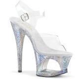 Silver 18 cm MOON-708HB Hologram platform high heels shoes