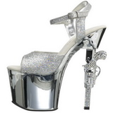 Silver 18 cm Pleaser REVOLVER-709G High Heels Chrome Platform