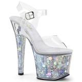 Silver 18 cm RADIANT-708BHG Hologram platform high heels shoes