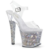 Silver 18 cm RADIANT-708HHG Hologram platform high heels shoes