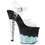 Silver 18 cm SCALLOP-708-2HGM Hologram platform high heels shoes