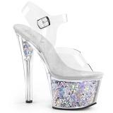 Silver 18 cm SKY-308GF glitter platform sandals shoes